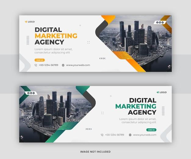 Progettazione del modello di copertina della timeline di facebook per la promozione del marketing aziendale digitale