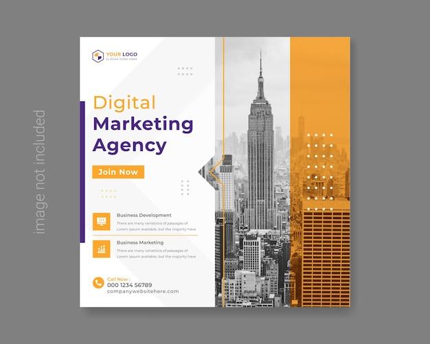 Banner o volantino quadrato per social media marketing aziendale digitale vettore premium