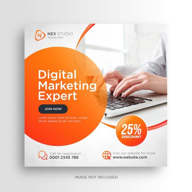 Volantino quadrato banner social media marketing aziendale digitale