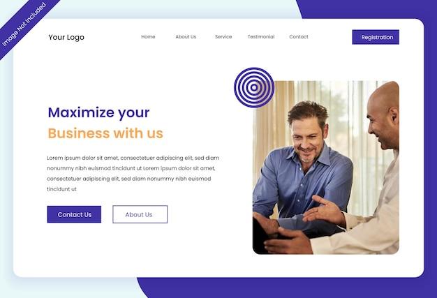 Progettazione del modello dell'interfaccia utente della pagina di destinazione del sito web di digital business