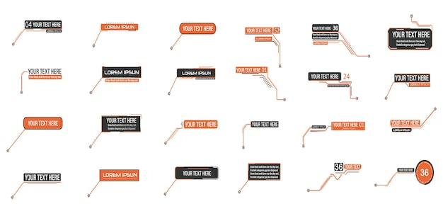 Callout digitali note a piè di pagina layout per collegamenti e informazioni digitali fonte per la pubblicità