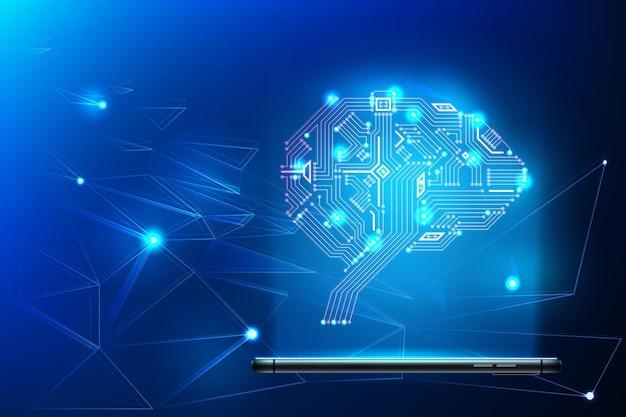 Cervello del circuito digitale con rete neurale intorno proveniente dallo smartphone
