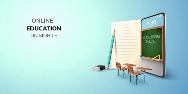 Internet di istruzione online dell'aula di digital e spazio in bianco sul telefono, fondo mobile del sito web. concetto di distanza sociale. decorazione con gomma da matita per libri sedia da tavolo da scrivania per studenti. illustrazione 3d.