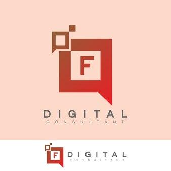 Consulente digitale iniziale lettera f logo design