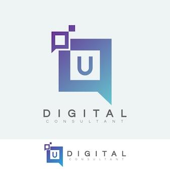 Consulente digitale iniziale letter u design logo