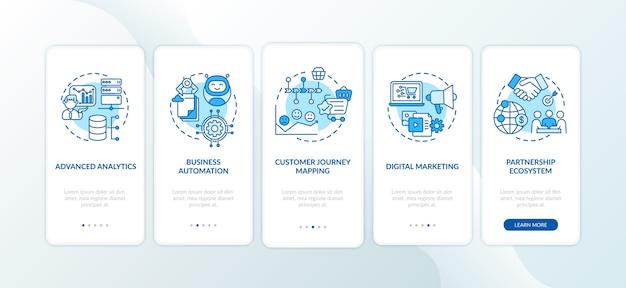 Componenti di consulenza digitale onboarding schermata della pagina dell'app mobile con concetti.