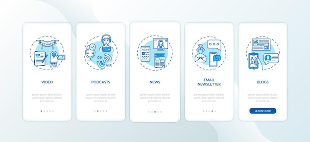 Tipi di contenuti digitali che integrano la schermata della pagina dell'app mobile con i concetti. creazione di podcast e blog passo passo 5 istruzioni grafiche. modello vettoriale dell'interfaccia utente con illustrazioni a colori rgb