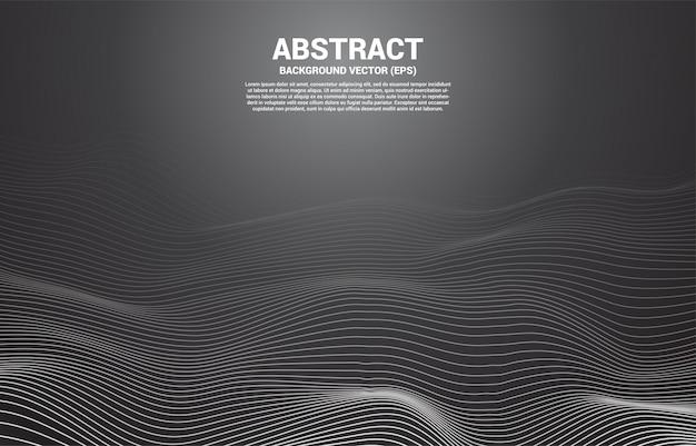 Linea curva del contorno digitale e onda con wireframe. sfondo astratto per il concetto di tecnologia futuristica 3d