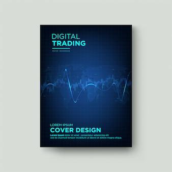 Trading di copertine digitali. con un'illustrazione grafica di una candela e una linea curva blu su uno sfondo scuro.