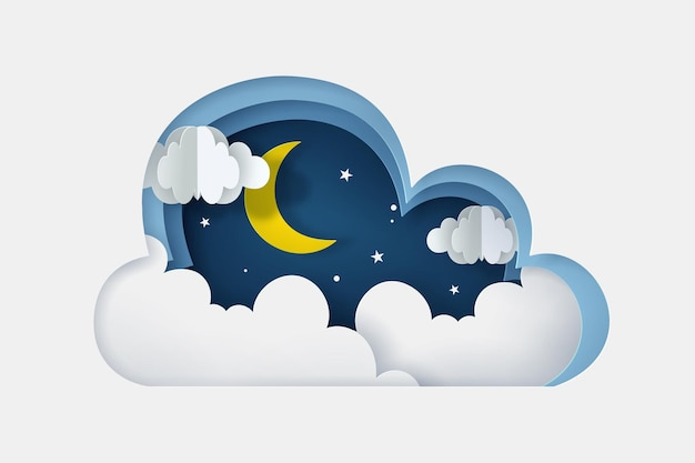Stile artigianale digitale della luna, delle nuvole e delle stelle di notte