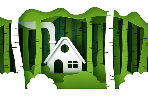 E stile artigianale digitale del paesaggio naturale, concetto di eco verde.