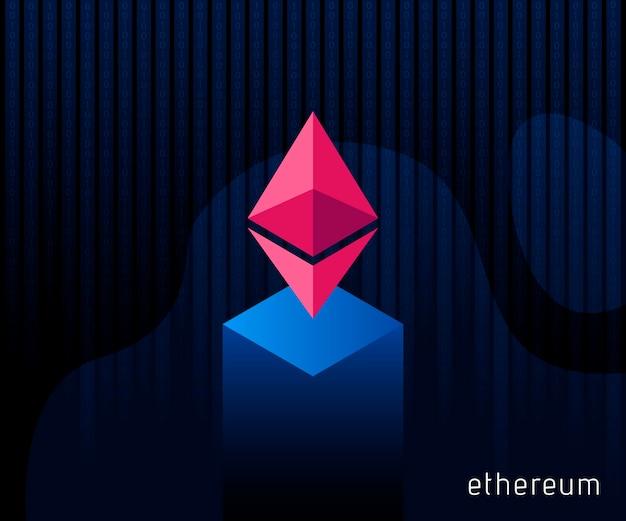 Valuta digitale ethereum. icona di cristallo di criptovaluta. simbolo delle tecnologie intelligenti su sfondo blu. illustrazione vettoriale.