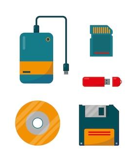 Icone di dispositivi di dati digitali isolate su priorità bassa bianca