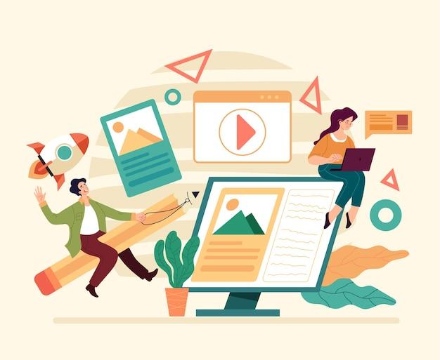 Lavoro di squadra di sviluppo del progetto di design digitale piatto