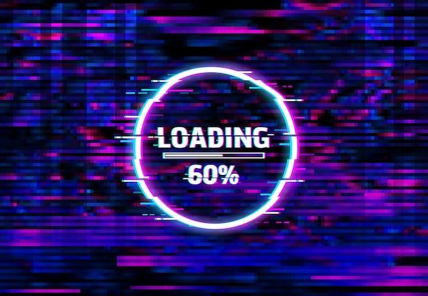 Sfondo glitch della barra di caricamento della distorsione digitale