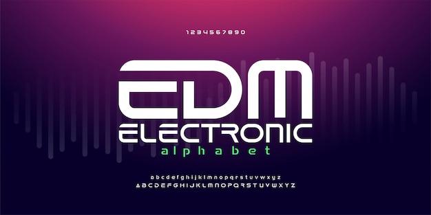 Caratteri digitali dell'alfabeto di musica dance elettronica edm