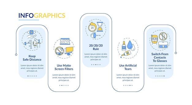 Modello di infografica con suggerimenti per la prevenzione dell'affaticamento degli occhi digitali