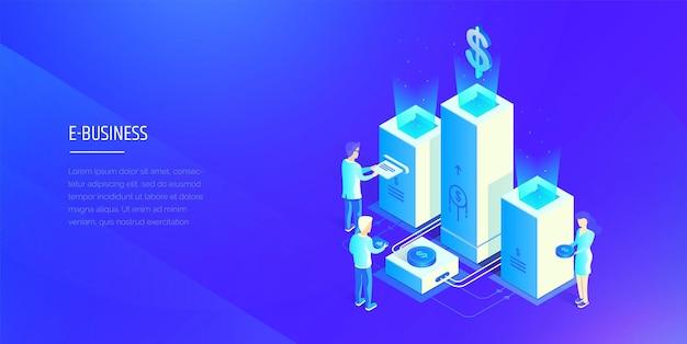 Sistema finanziario digitale le persone interagiscono con il sistema finanziario analisi dei profitti statistiche finanziarie stile isometrico di illustrazione vettoriale moderna modern