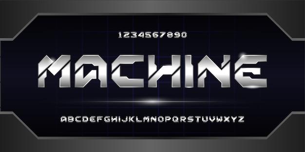 Carattere alfabeto futuristico digitale. caratteri tipografici in stile urbano per tecnologia, digitale, film, logo