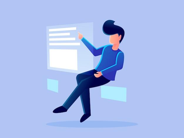 Illustrazione di progettazione di vettore di carattere di lavoro ologramma digitale analitica futuristica