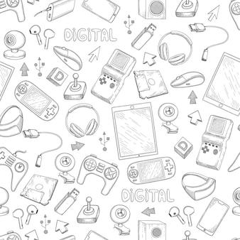 Modello di gadget digitali. dispositivi di computer smartphone pc tablet laptop controller di gioco vettore modello senza cuciture