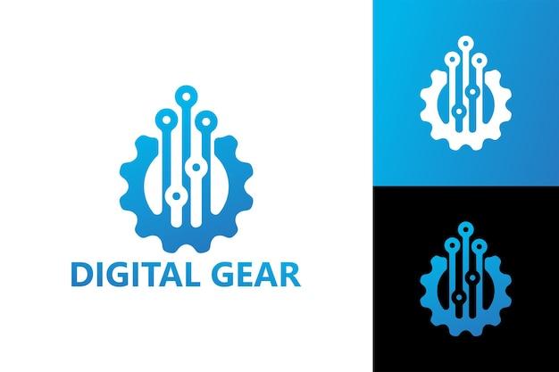 Vettore premium del modello di logo dell'ingranaggio digitale