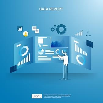 Dati grafici digitali per analisi seo e strategici con carattere. informazioni statistiche, documento di relazione di audit finanziario, ricerche di mercato per il concetto di gestione aziendale.