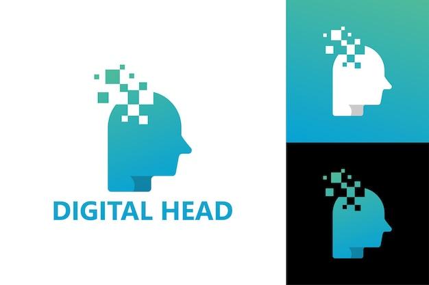 Vettore premium del modello di logo della testa digitale