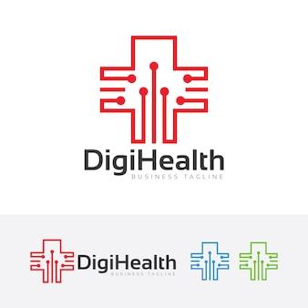 Modello di logo di tecnologia di salute digitale