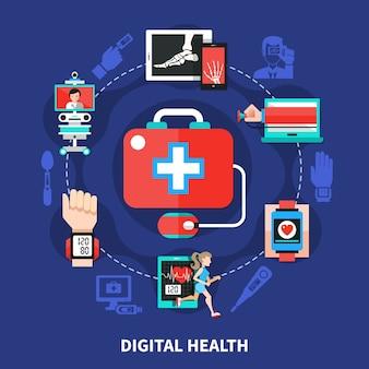 Composizione nel cerchio piatto di simboli sanitari digitali con dispositivi medici mobili che misurano le funzioni ei parametri del corpo
