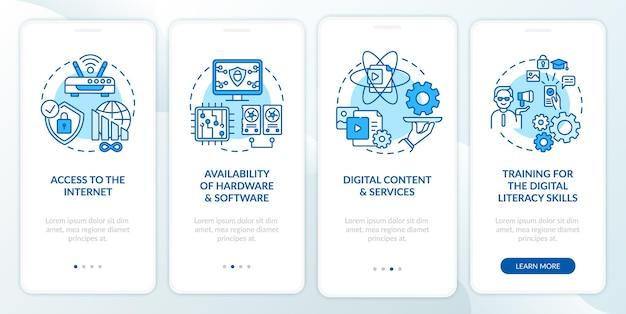Schermata della pagina dell'app mobile di onboarding blu del componente di inclusione digitale con concetti. procedura dettagliata per l'alfabetizzazione digitale 4 passaggi istruzioni grafiche.