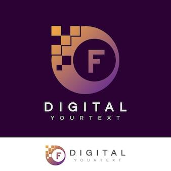 Disegno iniziale digitale f lettera