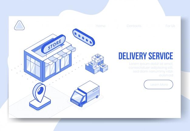 Insieme di concetto di design isometrico digitale del servizio di consegna