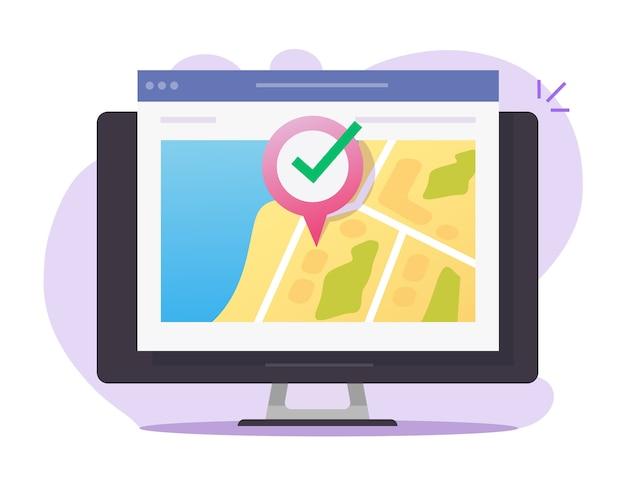Mappa digitale posizione web gps online e puntatore puntatore destinazione internet sullo schermo del computer pc