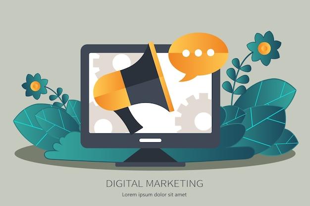 Concetto di marketing e pubblicità digitale