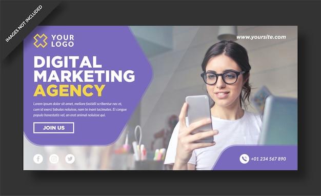Banner di agenzia di marketing digitale e design vettoriale di post sui social media
