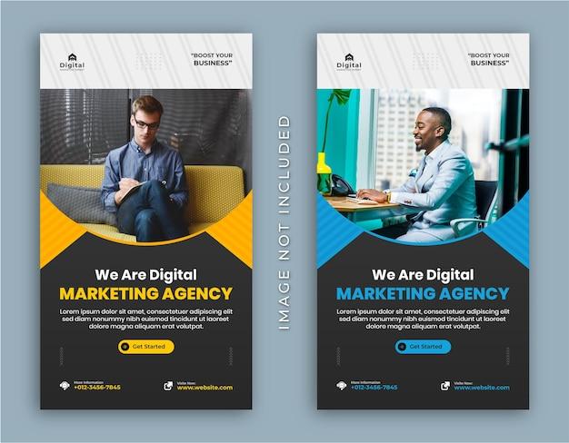 Agenzia di marketing digitale e volantino aziendale aziendale storie di instagram post sui social media o modello di banner web