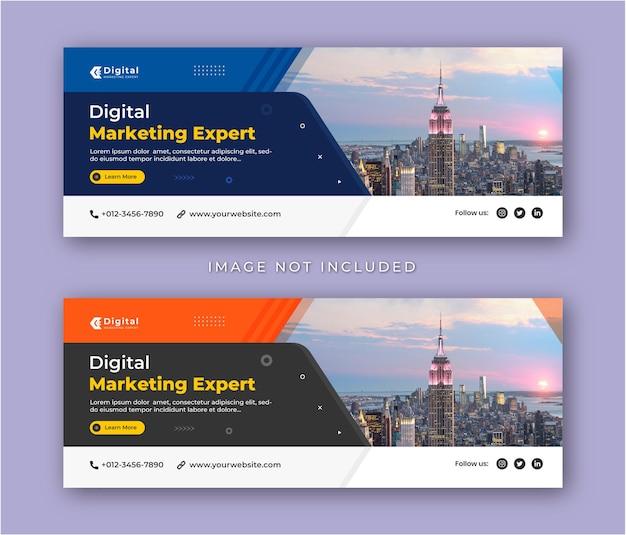 Agenzia di marketing digitale e volantino aziendale moderno modello di banner per post sui social media con copertina di facebook