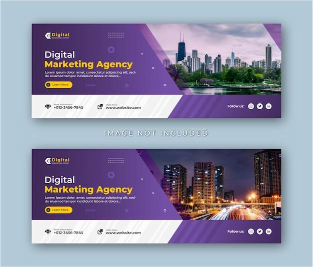 Agenzia di marketing digitale e volantino aziendale moderno modello di banner per post sui social media con copertina di facebook Vettore Premium