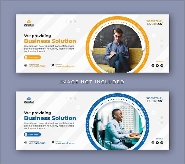 Agenzia di marketing digitale e volantino aziendale moderno copertina facebook post banner sui social media