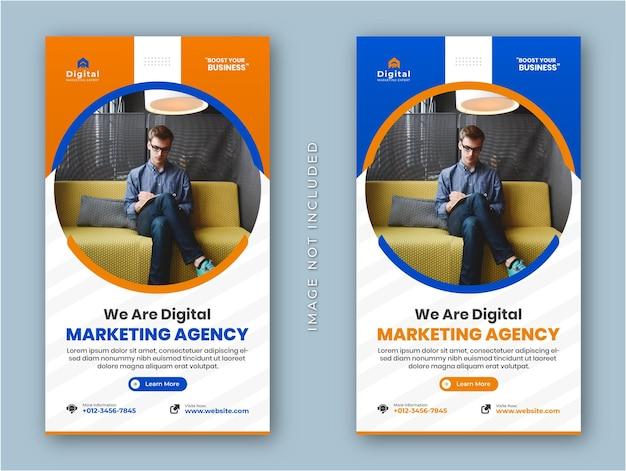 Agenzia di marketing digitale e volantino aziendale moderno storie di instagram post sui social media modello di banner