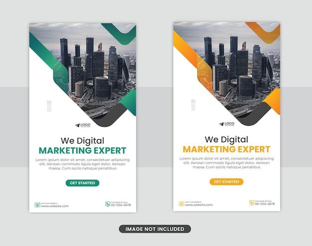 Agenzia di marketing digitale e volantino aziendale moderno post sui social media di storie di instagram