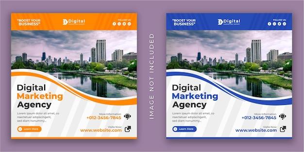 Agenzia di marketing digitale e volantino aziendale quadrato instagram social media post banner