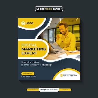 Agenzia di marketing digitale e post banner sui social media aziendali