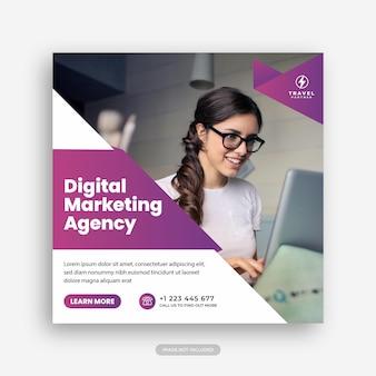 Agenzia di marketing digitale e modello di post sui social media aziendali premium vector