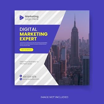 Agenzia di marketing digitale e modello di post sui social media aziendali