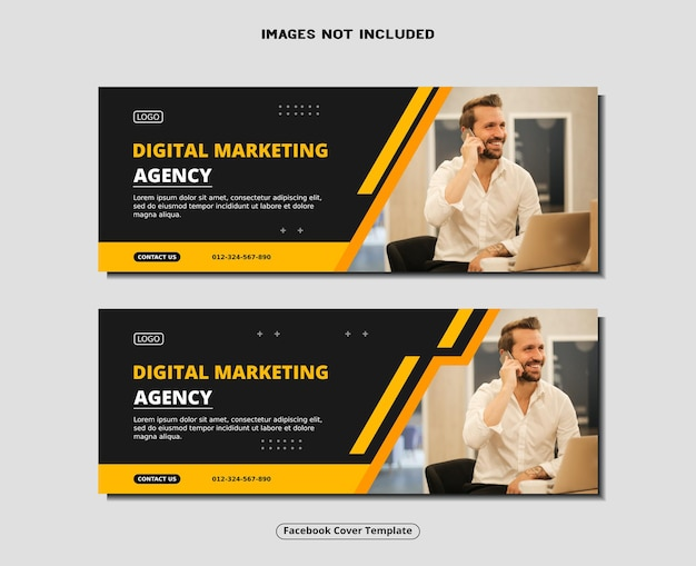 Modello di post sui social media per banner di copertina di facebook dell'agenzia di marketing digitale