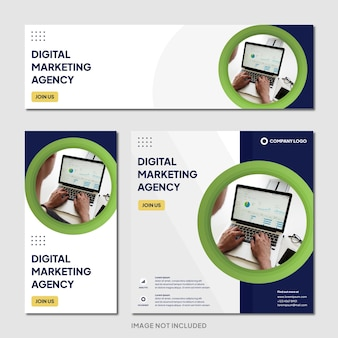 Agenzia di marketing digitale instagram post banner modello sfondo moderno modern