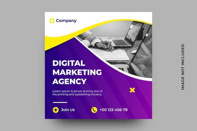 Banner di social media dell'agenzia di marketing digitale Vettore Premium
