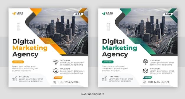 Agenzia di marketing digitale social media e design del modello di post di instagram